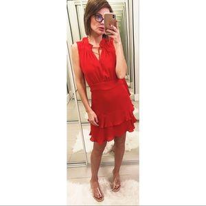 Parker Matilda Chiffon Tie-Neck Silk Dress in Red